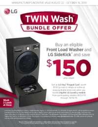 LG - Twin Wash Bundle Offer ($150 value)
