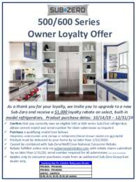 Sub-Zero - 500/600 Series Owner Loyalty Offer