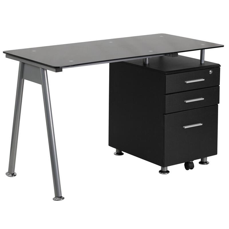 Flash Furniture Nanwk021agg, Flash Furniture Frosted Computer Desk With 3 Drawer Pedestal White
