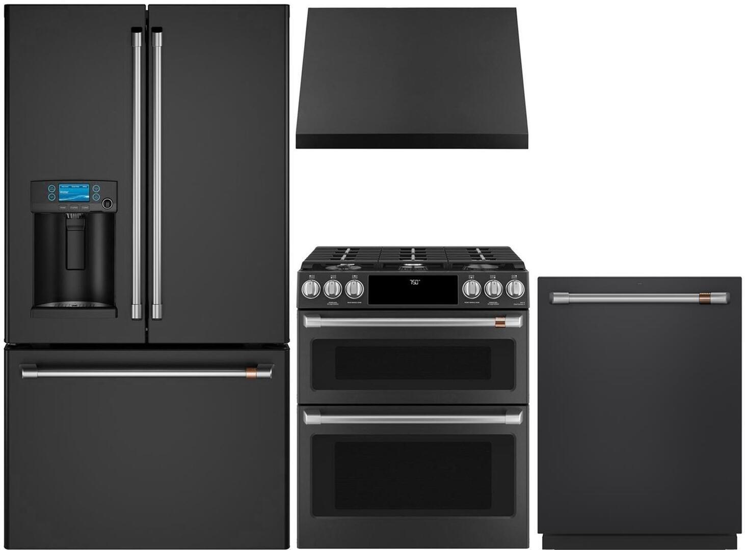 Cafe 957839 4 piece Matte Black Kitchen Appliances Package