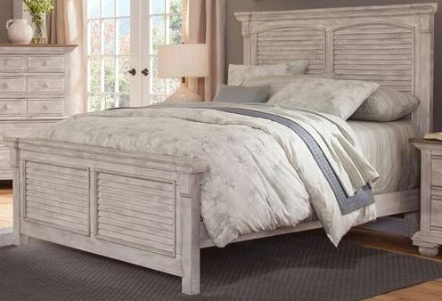 American Woodcrafters Cottage Traditions Crackled White 2 Piece King Size  Bedroom Set