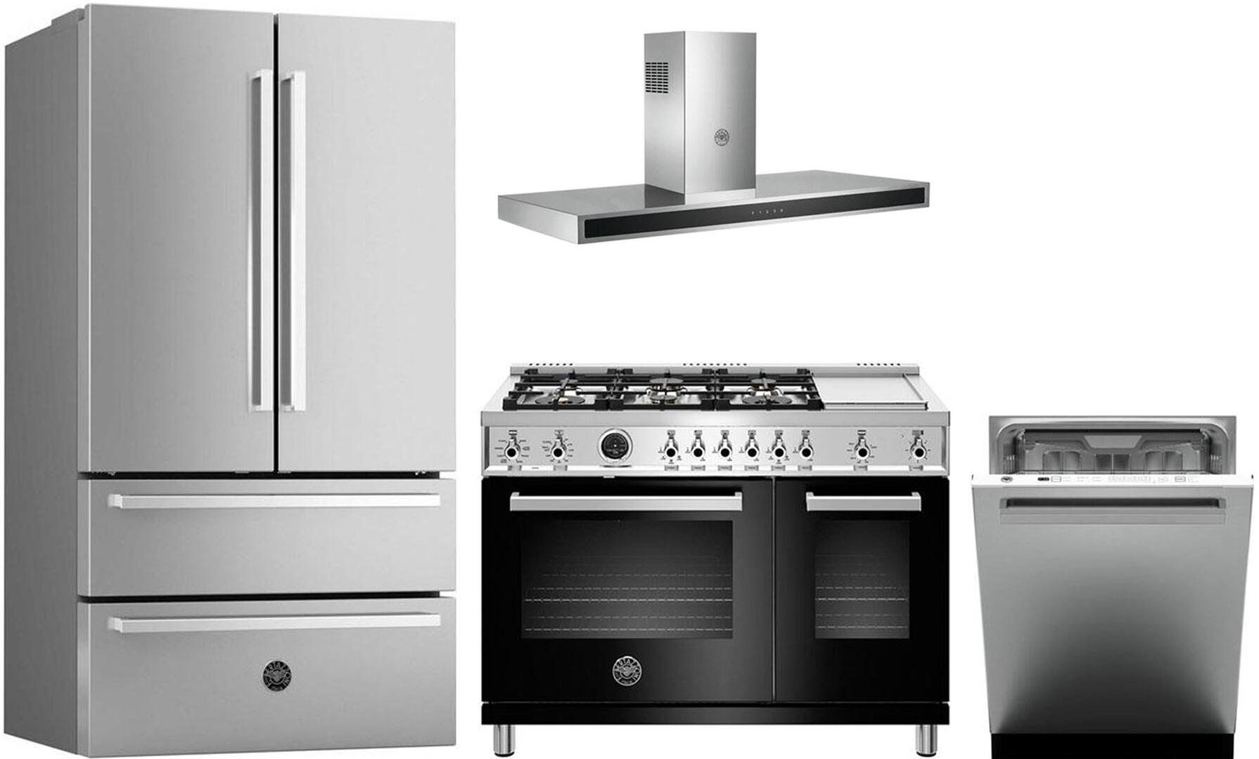 Bertazzoni 974097 4 piece Stainless Steel Kitchen Appliances Package
