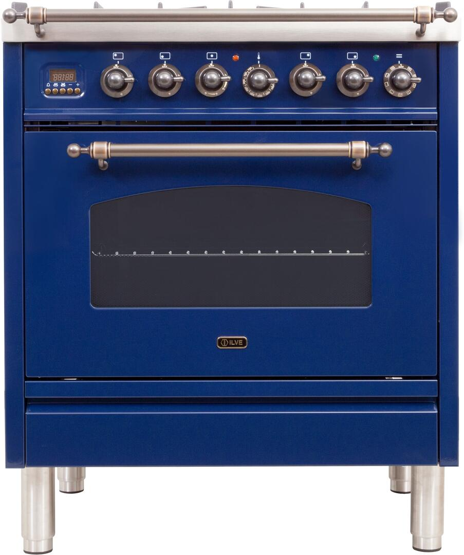Total Oven Capacity in Blue 3 cu.ft Ilve UPN76DMPBL Nostalgie Series 30 Inch Dual Fuel Convection Freestanding Range Natural Gas 5 Sealed Brass Burners Brass Trim