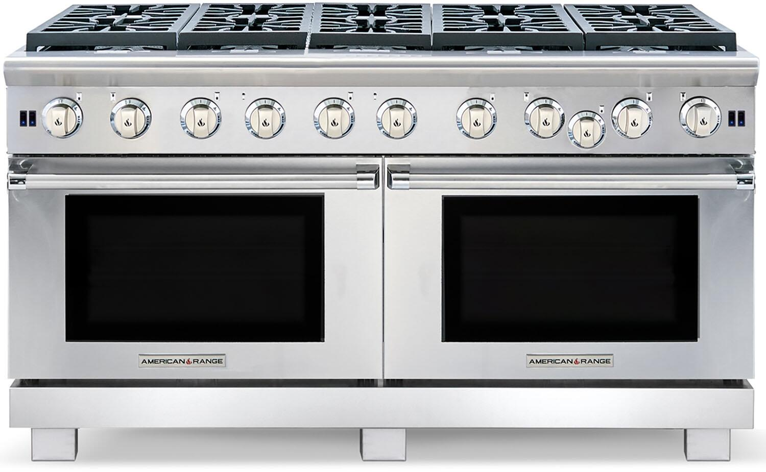 American Range ARR1060L Cuisine Series 60 Inch Stainless Steel Gas  Convection Double Oven Freestanding Range