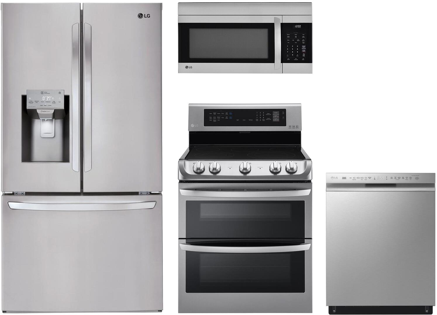 LG 974867 4 piece Printproof Stainless Steel Kitchen Appliances Package