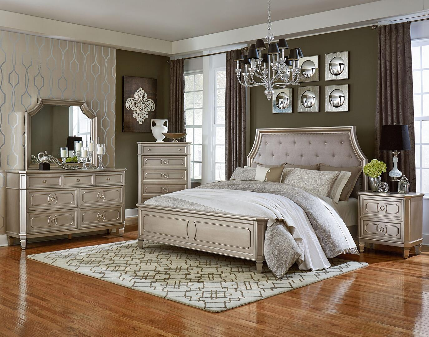 Standard Furniture Windsor Silver 6 Piece King Size Bedroom Set