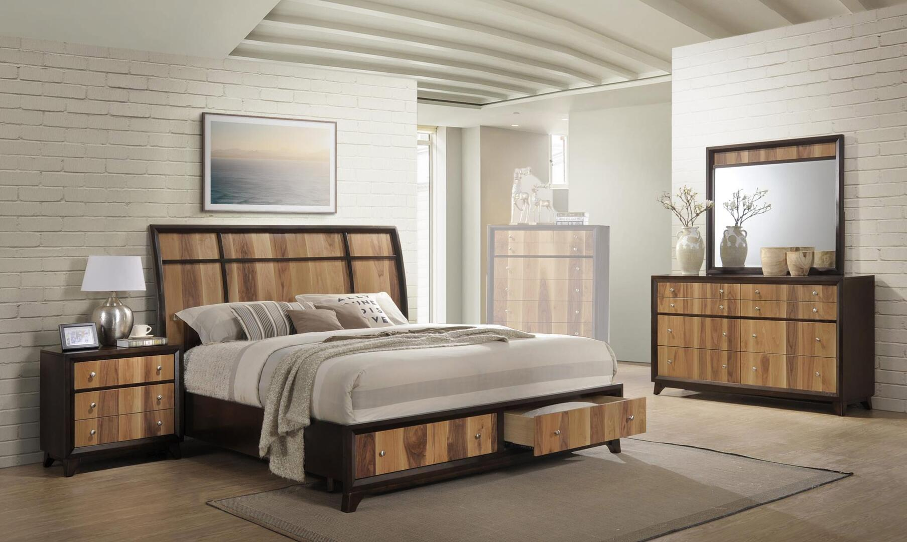 Myco Furniture Ava Collection Av6120knmdr 4 Piece Bedroom Set With