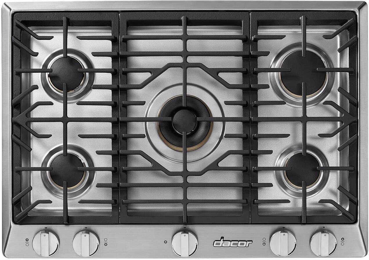 in Stainless Steel Dacor HCT365GSNG Heritage Series 36 Inch Natural Gas Cooktop with 5 Sealed Burners