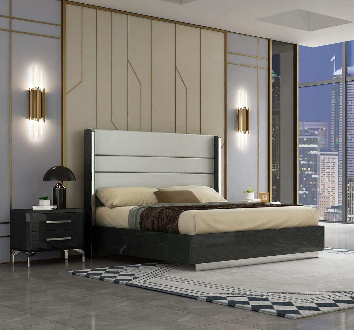 Whiteline Los Angeles Collection Bk1618gryn 2 Pc Living Room Set