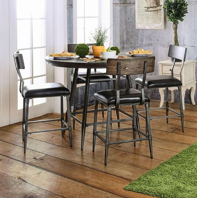 Industrial Style Round Dining Set
