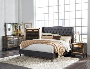 Global Furniture USA MIRROR8856CHOCQBUPHOLSTEREDSET