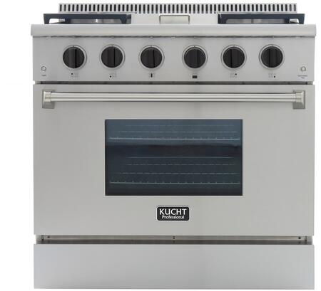 KRG3609U/LP-K 36″ Professional-Class Liquid Propane Range with 5.2 cu. ft. Convection Oven  4 Top Burners  18500 BTU Griddle  Heavy Duty Cast-Iron