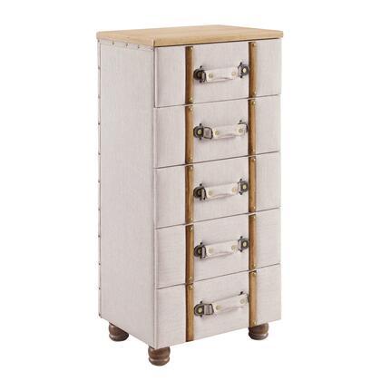 Linon Sarah AC105ALM01U Cabinet, AC105ALM01U SARAH FIVE DRAWER PADDED CHEST CABINET