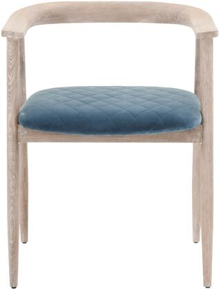 District Collection 4562.CBLU/NGO Bina Accent Arm Chair with Tapered Legs  Diamond Stitching Seat Cushion  Cast Blue Velvet Polyester Upholstery and