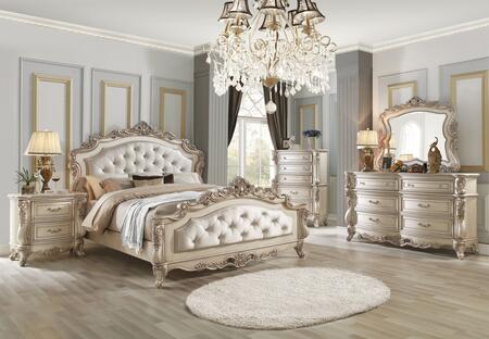 Acme Furniture Gorsedd Collection 27434ckset 5 Pc Bedroom Set With California King Size Bed Dresser Mirror Chest And Nightstand In Antique White Finish Appliances Connection