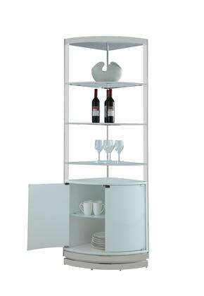 6670-CUR Contemporary Open-Back Corner Curio with 4 White Starphire Tempered Glass Shelves in Super
