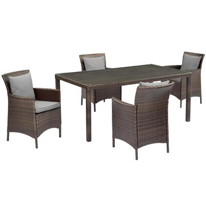 Conduit Collection EEI-3892-BRN-GRY-SET  5 Piece Outdoor Patio Wicker Rattan Set with Powder-Coated Aluminum Frame  Synthetic PE Rattan Weave and