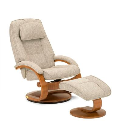 Brampton Collection BRAMPTON052036 Recliner and Ottoman with Reclines  Swivels  Memory Foam Seating  Quality Textured Fabric and Adjustable Headrest