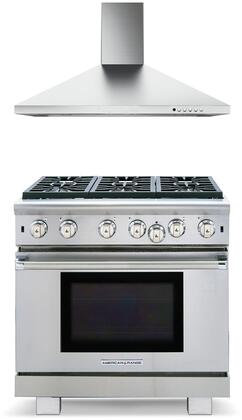"""2 Piece Kitchen Appliances Package with ARROB636N 36"""" Gas Range and CLPL36SSV Classica Plus 36"""" Wall Mount Convertible Hood in Stainless"""
