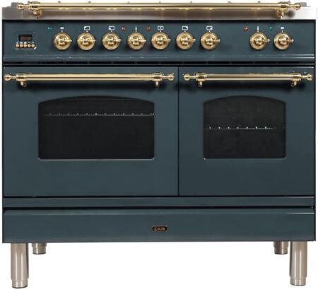 Ilve Nostalgie UPDN100FDMPGULP Freestanding Dual Fuel Range , Blue Grey Custom RAL Color