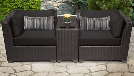 Barbados Collection BARBADOS-03b-BLACK 3-Piece Patio Wicker Set with 2 Corner Chairs and 1 Cup Table – Wheat and Black