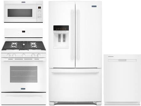 "4-Piece Kitchen Appliance Package with MFI2570FEW 36"""" French Door Refrigerator  MGR6600FW 30"""" Gas Range  MDB8989SHW 24"""" Built In Fully Integrated Dishwasher -  Maytag, 800062"