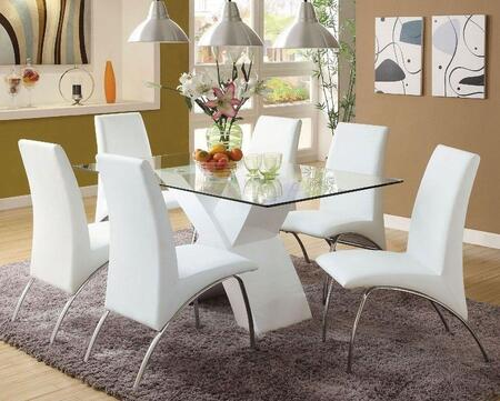 Furniture Of America Wailoa Collection Cm8370whtdt6sc 7 Piece Dining Room Set With 60 Inch Dining Table And 6x Side Chair In White Finish Appliances Connection
