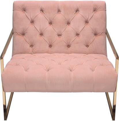 """Luxe_Collection_LUXECHPN_31""""_Accent_Chair_with_Plush_Velvet_Upholstery__Polished_Stainless_Steel_Legs_and_Deep_Button_Tufting_in_Blush"""