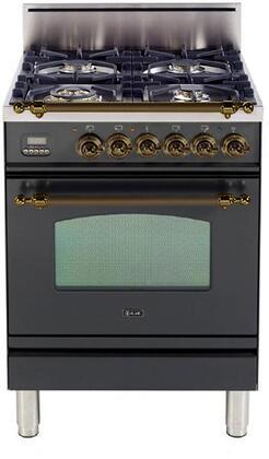 Ilve Nostalgie UPN60DVGGMY Freestanding Gas Range Graphite, UPN60DVGGMY Nostalgie Gas Range