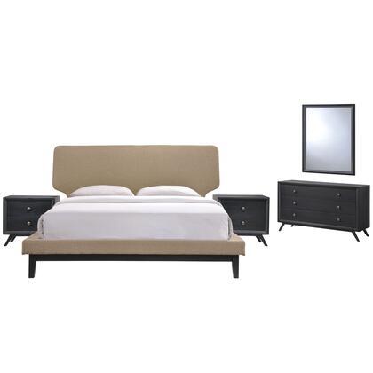 Modway Bethany MOD5337BLKLATSET Bedroom Set Brown, MOD 5337 BLK LAT SET 1