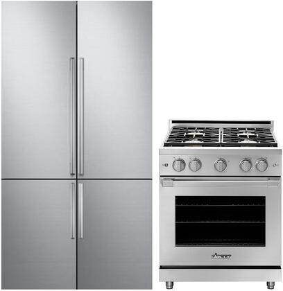 2 Piece Kitchen Appliances Package with DRF427500AP 42″ French Door Refrigerator and HGPR30SNG 30″ Gas Range in Stainless