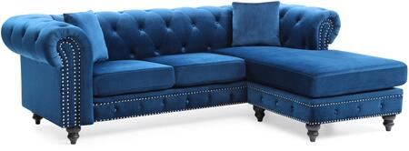 Glory Furniture Nola G0351BSC Sectional Sofa Blue, G0351BSC Main Image