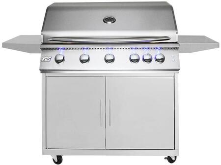 40″ Freestanding Premier Grill With Cart  Liquid Propane  Rear Burner  72000 Total BTU  906 Total sq. inch Cooking Area  Full Width Slide-out Drip