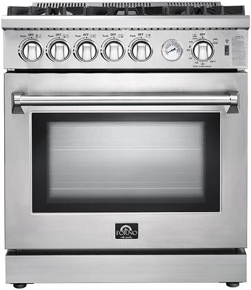 FFSGS6275-30 30″ Stainless Steel Natural Gas Range with 4.23 cu. ft. Capacity  5 Italian Defendi Burners  Convection Fan and Cast Iron