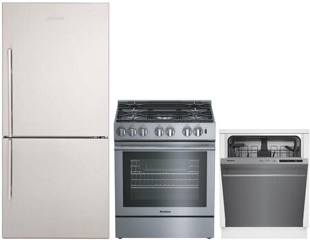 """3-Piece Kitchen Appliances Package with BRFB1812SSN 30"""" Bottom Freezer Refrigerator BGR30522SS 30"""" Gas Range and DW51600SS 24"""" Built In Full Console"""