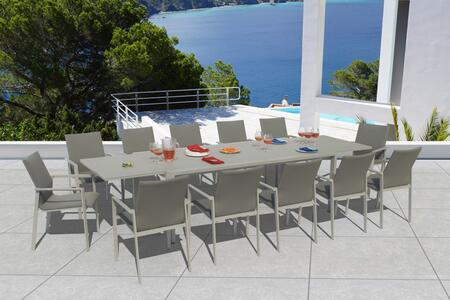 Fine Line Ritz Collection GR03413SGB2049G 13 Piece Outdoor Dining Set with Extendable Savoy Table  Grey Frosted Glass Top  All-Weather Mesh Fabric
