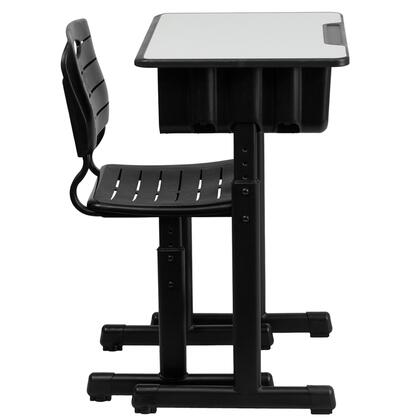 YU-YCX-046-09010-GG Adjustable Height Student Desk and Chair with Black Pedestal