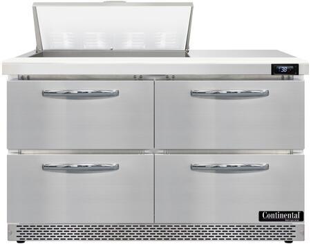 Continental Refrigerator Designer Line D48N8FBD Prep Refrigerator Stainless Steel, D48N8-FB-D Standard Top Sandwich Unit Refrigerator