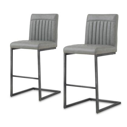 1060008-216 Ronan PU Leather Counter Stool Set of 2  in Antique Graphite