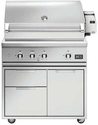 BE1-36RC-N 36″ Series 9 Evolution Freestanding Natural Gas Grill with 3 U-Burners  Infrared Rotisserie  Charcoal Smoker Tray  and Temperature Gauge