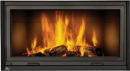 Napoleon High Country NZ7000 Fireplace Black, Smooth Brick Panels, Screen Down