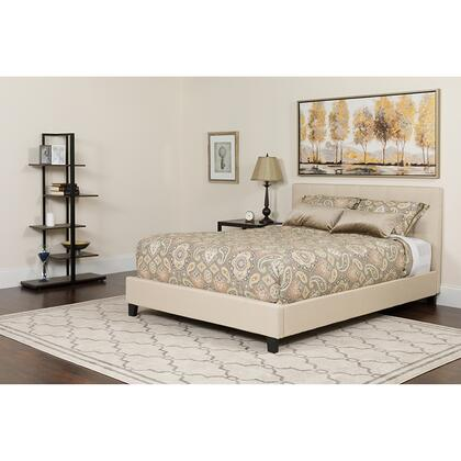 HG-BMF-18-GG Tribeca Full Size Tufted Upholstered Platform Bed in Beige Fabric with Memory Foam