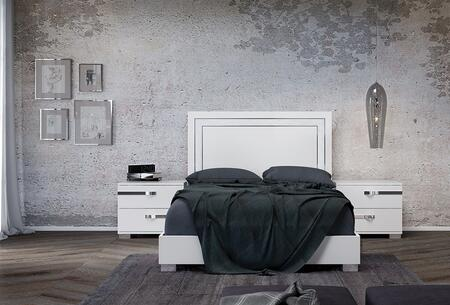 Wave Collection CBWV01K2N 3 PC Bedroom Set with King Size Bed and 2 Nightstands in White