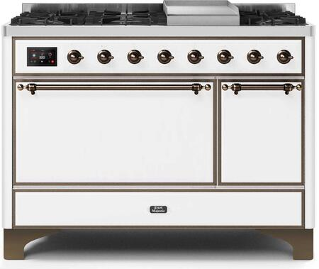 Ilve Majestic II UM12FDQNS3WHB Freestanding Dual Fuel Range White, UM12FDQNS3WHBNG-Front-CD-A