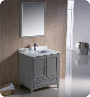 Oxford Collection FVN2030GR 30″ Grey Traditional Bathroom