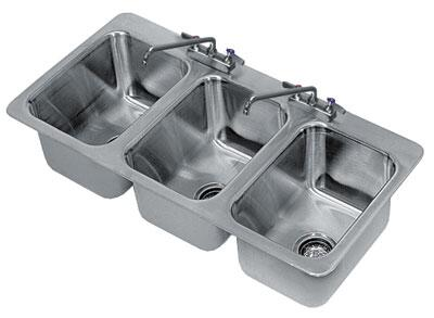 Advance Tabco  DI3101X Commercial Drop in  Weld In and Undermount Sink Stainless Steel, 3 Compartment Drop In Sink