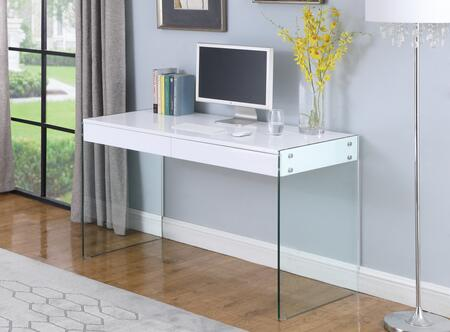 6903-DSK Contemporary Glass Desk with Two Sleek  Flush Front Drawers in Gloss