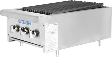 TARB-18 18″ Heavy Duty Counter Top Radiant Broiler with 3 Burners  45000 BTU Output  Removable Grease Pan and Cast Iron Radiant in Stainless