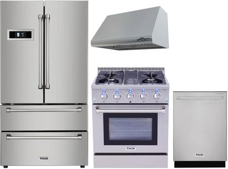 4 Piece Kitchen Appliances Package with HRF3601F 36″ French Door Refrigerator  HRD3088U 30″ Dual Fuel Gas Range  HRH3005U 30″ Under Cabinet Ducted