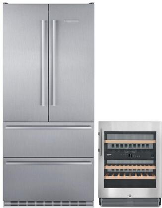 """2 Piece Kitchen Appliances Package with CS2082 36"""" French Door Refrigerator and WU3400 24"""" Built-in Wine Cooler in Stainless"""